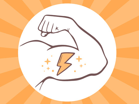 Vector illustration of strong man hand with  icon of lightning on bright background. Manly line art design for web, site, advertising, banner, poster, board and print.