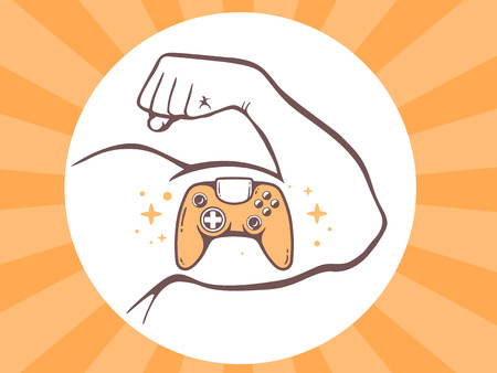 playstation: Vector illustration of strong man hand with  icon of joystick on bright background. Manly line art design for web, site, advertising, banner, poster, board and print.