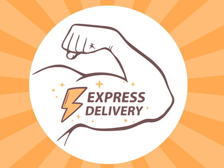 manly: Vector illustration of strong man hand with  icon of express delivery on bright background. Manly line art design for web, site, advertising, banner, poster, board and print.