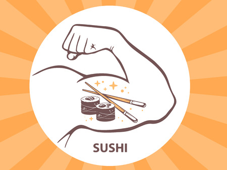 manly: Vector illustration of strong man hand with  icon of sushi on bright background. Manly line art design for web, site, advertising, banner, poster, board and print.