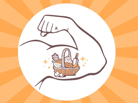 manly: Vector illustration of strong man hand with  icon of basket with food on bright background. Manly line art design for web, site, advertising, banner, poster, board and print. Illustration