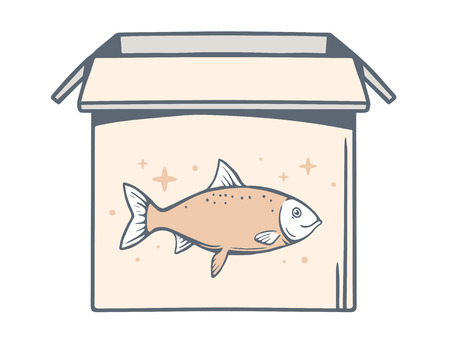 Vector illustration of open box with icon of fish on white background. Line art design for web, site, advertising, banner, poster, board and print.