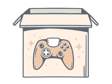 move controller: Vector illustration of open box with icon of joystick on white background. Line art design for web, site, advertising, banner, poster, board and print. Illustration