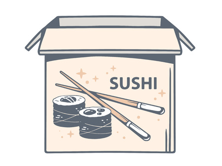 Vector illustration of open box with icon of sushi on white background. Line art design for web, site, advertising, banner, poster, board and print.