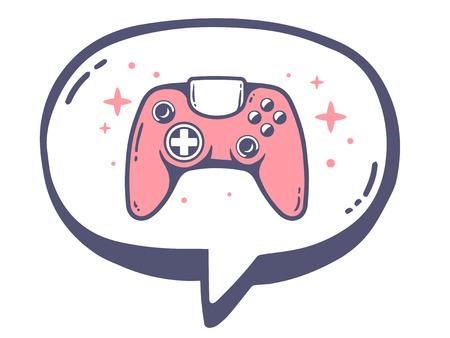 playstation: Vector illustration of bubble with icon of pink joystick on white background. Line art design for web, site, advertising, banner, poster, board and print. Illustration
