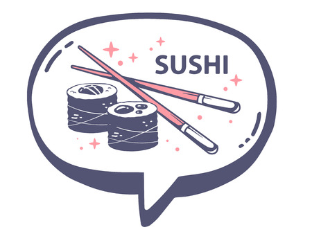 asian business meeting: Vector illustration of bubble with icon of sushi on white background. Line art design for web, site, advertising, banner, poster, board and print.
