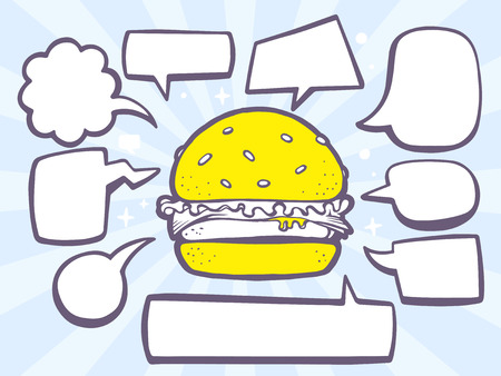 Vector illustration of big burger with speech comics bubbles on blue background. Line art design for web, site, advertising, banner, poster, board and print.