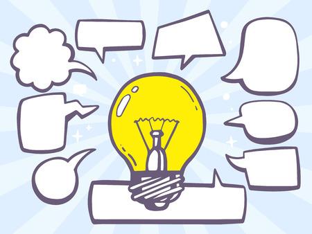 음성 만화 전구 빛의 벡터 일러스트 레이 션 파란색 배경에 거품. 웹 사이트, 광고, 배너, 포스터, 보드 및 인쇄 라인 아트 디자인.