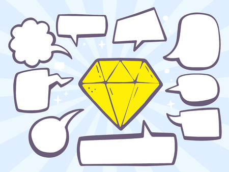 Vector illustration of diamond with speech comics bubbles on blue background. Line art design for web, site, advertising, banner, poster, board and print.