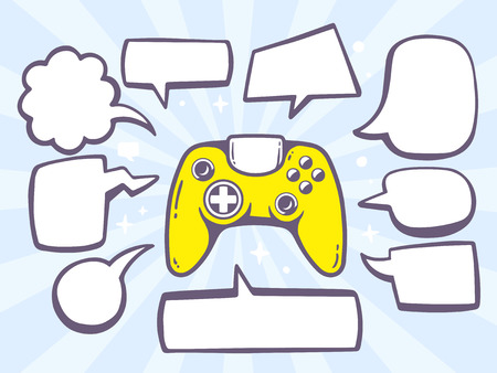 Vector illustration of joystick with speech comics bubbles on blue background. Line art design for web, site, advertising, banner, poster, board and print.