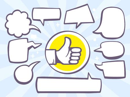Vector illustratie van duim omhoog met spraak comics bubbels op blauwe achtergrond. Line art design voor web, website, reclame, banner, poster, karton en afdrukken.