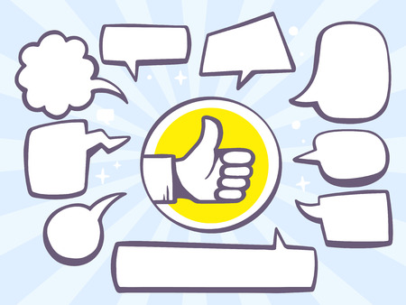 Vector illustration of thumb up with speech comics bubbles on blue background. Line art design for web, site, advertising, banner, poster, board and print.