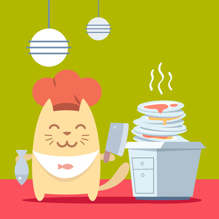 unwashed: Character chef in a chefs hat colorful flat. Cat male stands in the kitchen near a pile of dirty dishes holding a cook knife and fish