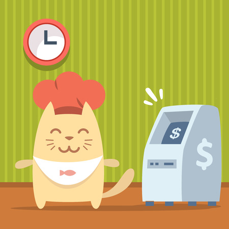 bankomat: Character  chef in a chefs hat colorful flat. Cat male stands indoors near ATM