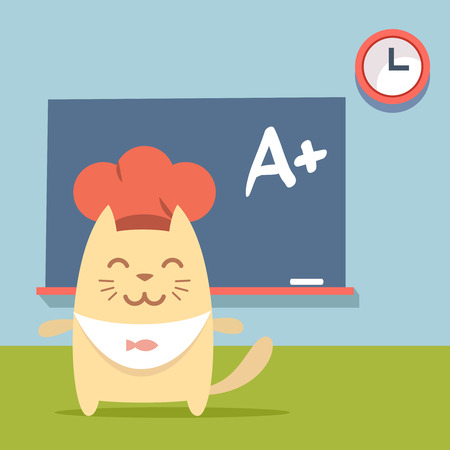 Character chef in a chefs hat colorful flat.  Cat female stands near blackboard in classroom Vector
