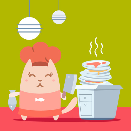 unwashed: Character chef in a chefs hat colorful flat. Cat female stands in the kitchen near a pile of dirty dishes holding a cook knife and fish Illustration