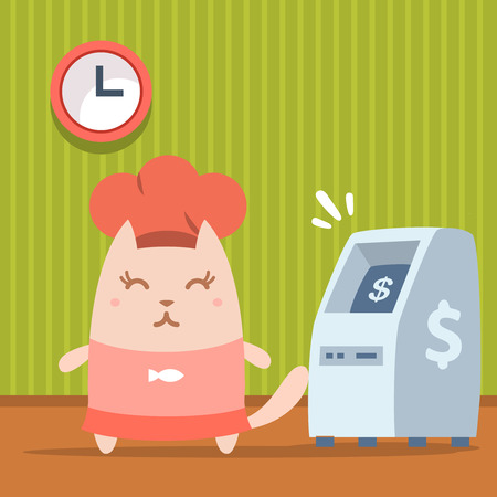 bankomat: Character  chef in a chefs hat colorful flat. Cat female stands indoors near ATM