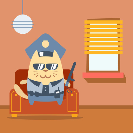 arm chair: Character police in officers cap and in the form of police with a official stick colorful flat. Cat male sits on an arm chair in the apartment holding a official stick Illustration