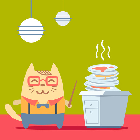 unwashed: Character teacher in a business suit with suspenders colorful flat. Cat male stands in the kitchen near a pile of dirty dishes holding a  pointer