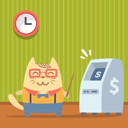 bankomat: Character  teacher in a business suit with suspenders colorful flat. Cat male stands indoors near ATM  holding a   pointer Illustration