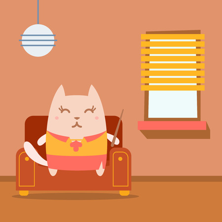 arm chair: Character  teacher in a woman business suit colorful flat.  Cat female sits on an arm  chair in the apartment holding a pointer