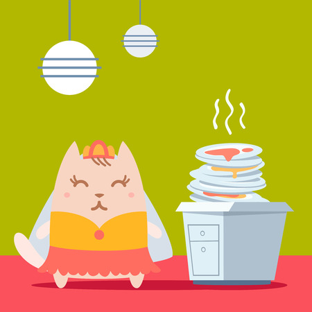 unwashed: Character bride in a wedding dress with veil colorful flat. Cat female stands in the kitchen near a pile of dirty dishes