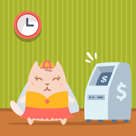 money cat: Novia del personaje en un vestido de novia con velo colorido plana. Gato femenino destaca en el interior cerca de ATM