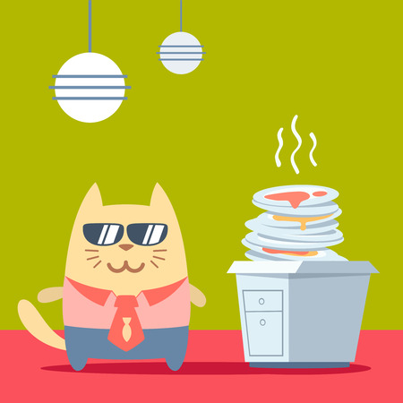 unwashed: Character businessman in a business suit with a tie and sunglasses colorful flat. Cat male stands in the kitchen near a pile of dirty dishes Illustration