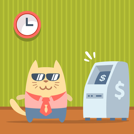 indoors: Character  businessman in a business suit with a tie and sunglasses colorful flat. Cat male stands indoors near ATM