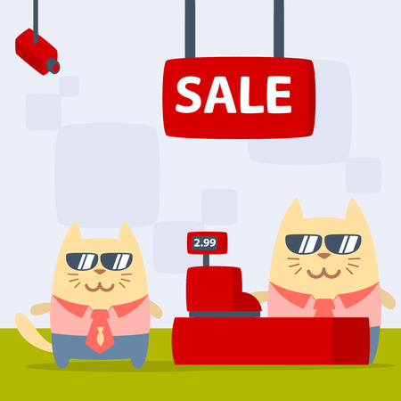 money cat: Character businessman in a business suit with a tie and sunglasses colorful flat. Cat male stands in the store near the cash register
