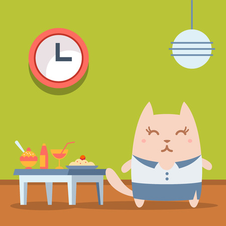 cat suit: Character businesswoman in woman business suit colorful flat. Cat female stands in a cafe near the table with food