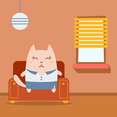homely: Character businesswoman in woman business suit colorful flat.  Cat female sits on an arm  chair in the apartment Illustration