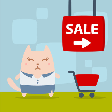 purchasing manager: Character businesswoman in woman business suit colorful flat. Cat female stands in the store near the shopping cart