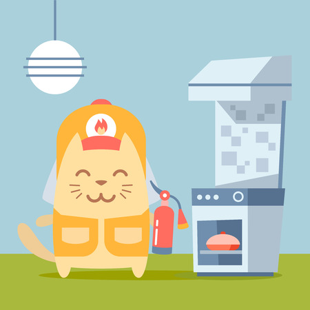 Character firefighter in coveralls and helmet colorful flat. Cat male stands in the kitchen near the stove holding a fire extinguisher