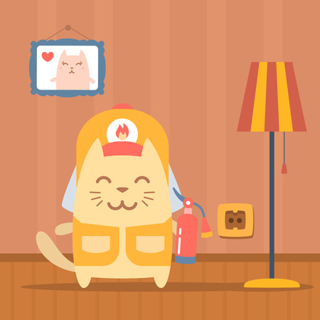 coveralls: Character firefighter in coveralls and helmet colorful flat. Cat male stands in apartment near the lamp holding a fire extinguisher