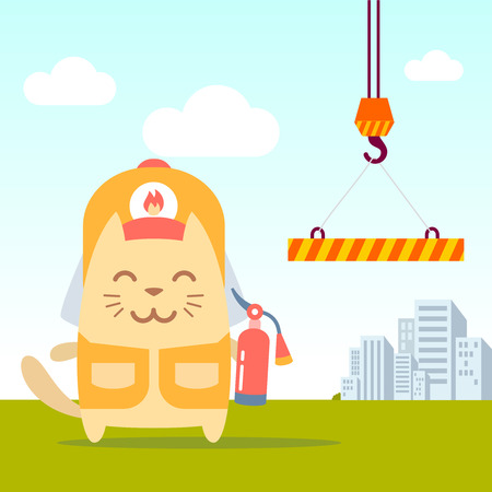 Character firefighter in coveralls and helmet colorful flat. Cat male stands near the crane the holding a fire extinguisher