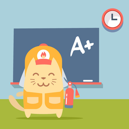 coveralls: Character firefighter in coveralls and helmet colorful flat.  Cat male stands near blackboard in classroom  holding a fire extinguisher