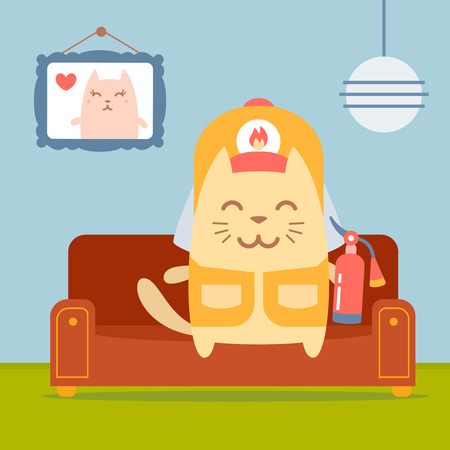 coveralls: Character firefighter in coveralls and helmet colorful flat.  Cat male sits on a couch in a comfortable flat holding a fire extinguisher Illustration