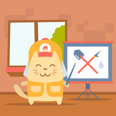 gaff: Character firefighter in coveralls and helmet colorful flat. Cat male stands indoors with window near blackboard for notes holding a pointer show at gaff and shovel