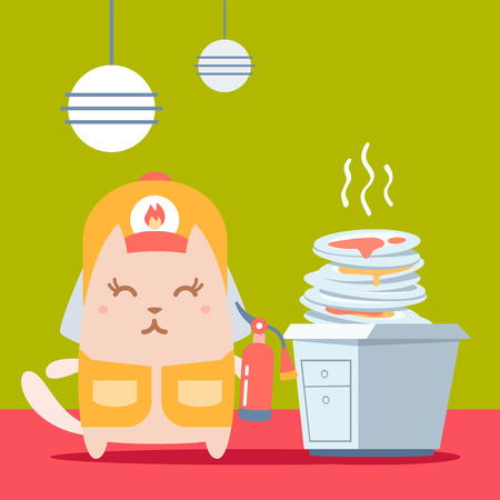 unwashed: Character firefighter in coveralls and helmet colorful flat. Cat female stands in the kitchen near a pile of dirty dishes holding a fire extinguisher