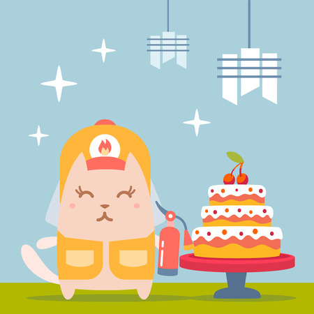 Character firefighter in coveralls and helmet colorful flat. Cat female stands near the big beautiful cake  holding a fire extinguisher