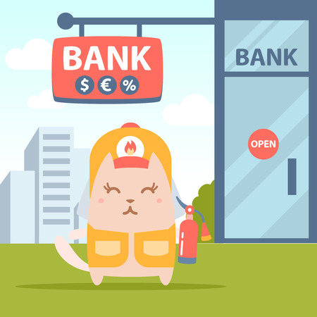 coveralls: Character firefighter in coveralls and helmet colorful flat. Cat female stands near the entrance to a bank outside holding a fire extinguisher