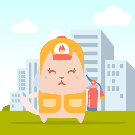 coveralls: Character firefighter in coveralls and helmet colorful flat. Cat female stands on the street outside the city  holding a fire extinguisher