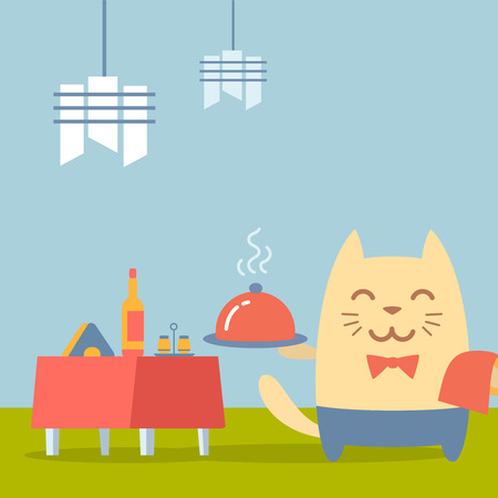 Character  waiter uniform and bow tie colorful flat. Cat male stands in a cafe near decorated table holding a towel and tray Vector