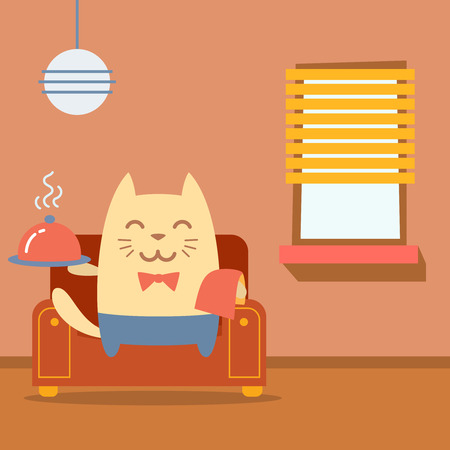 arm chair: Character  waiter uniform and bow tie colorful flat.  Cat male sits on an arm  chair in the apartment holding a towel and tray