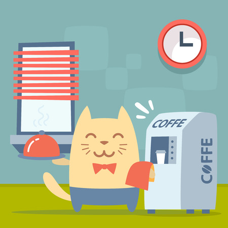 Character   waiter uniform and bow tie colorful flat. Cat male stands indoors near the coffee machine, coffee break  holding a towel and tray Vector