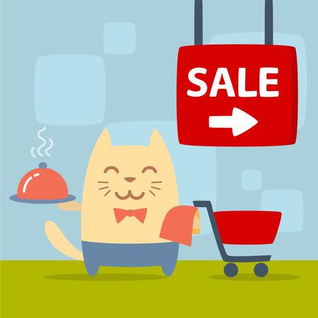 money cat: Car�cter uniforme del camarero y pajarita colorida plana. Masculino Gato se encuentra en la tienda cerca de la cesta de la compra la celebraci�n de una toalla y una bandeja Vectores