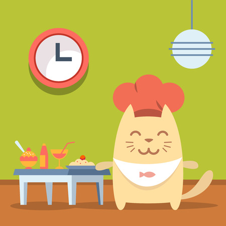 Character chef in a chefs hat  colorful flat. Cat male stands in a cafe near the table with food Vector