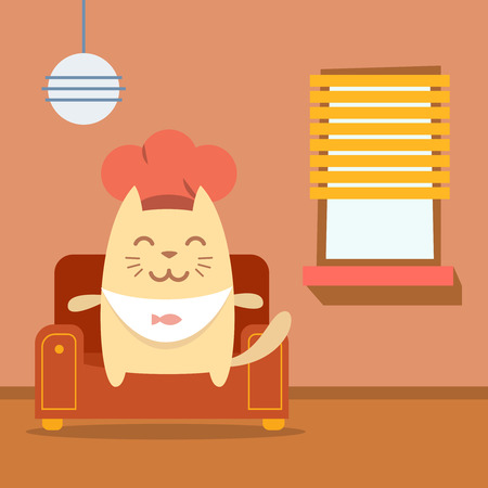 arm chair: Character chef in a chefs hat  colorful flat.  Cat male sits on an arm  chair in the apartment