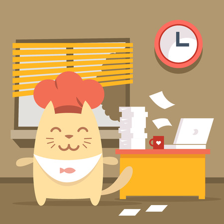 Character chef in a chefs hat  colorful flat. Cat male stands indoors at the table with a laptop and piles of paper documents Vector